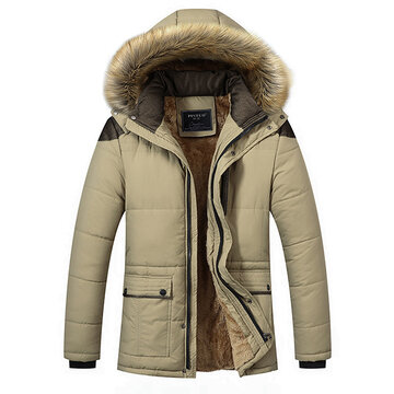 Winter Outdoor  Thicken Shoulder Splices Detachable Hood Fur Padded Jacket For Men