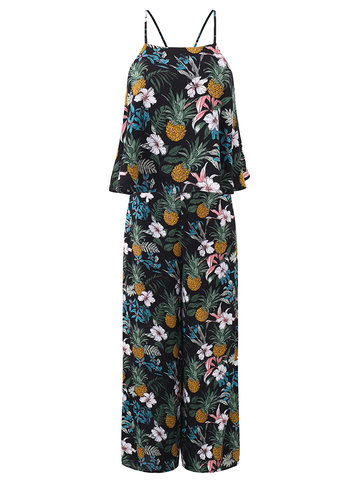 Gracila Bohemian Print Backless O-neck Tank Tops With Pants Suit