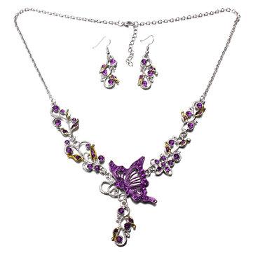 Ожерелье из хрустальной бабочки, серьги из сплава с бабочкой