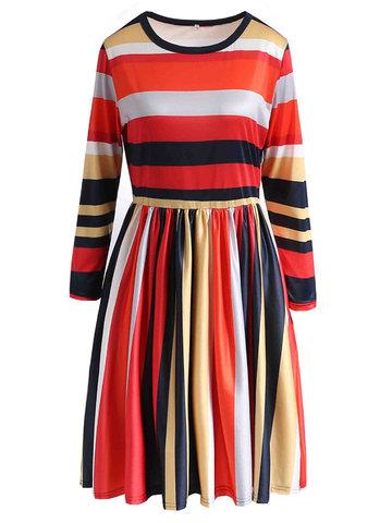 Женские повседневные  платья полоски с карманами с длинным рукавом