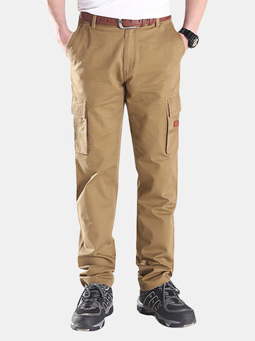 Mens Spring Regular Fit Solid Colour Multi-pocket Casual Cotton Cargo Pants