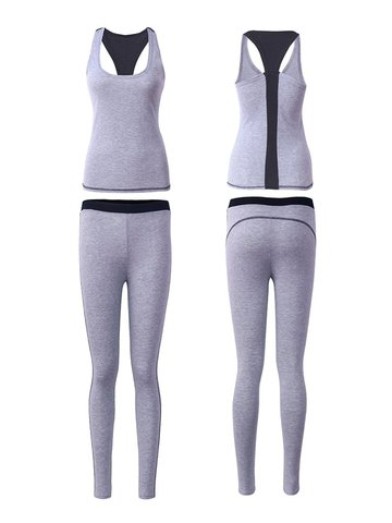 Frauen Yoga Fitness Tops Leggings Set Gym Slim Trainingsanzüge