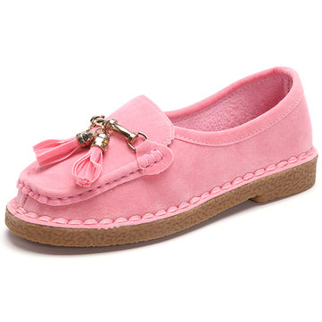 Tassel Pure Color Slip On Suede Loafer Flat Casual Shoes