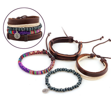 Unisex Multi Bracelet Samba Christian Woven Beads Leather Bracelet