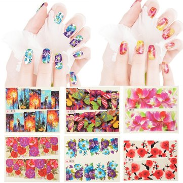 6 Types Flower Water Transfer Nail Art Stickers Decal DIY Tips