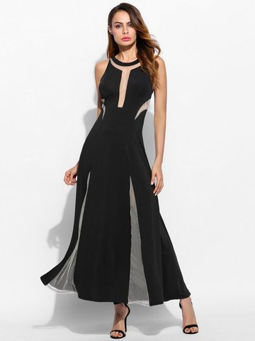 Patchwork See-through Sleeveless O-neck Maxi Dress For Women