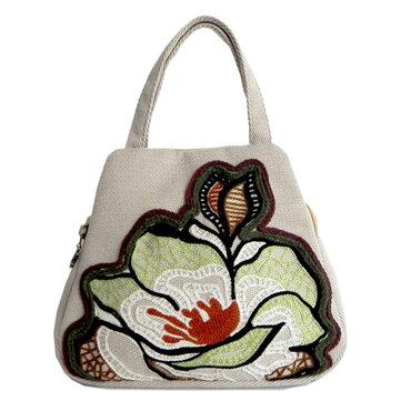 Женская хлопчатобумажная повседневная вышивка цветов Удобные маленькие сумочки Shell Tote