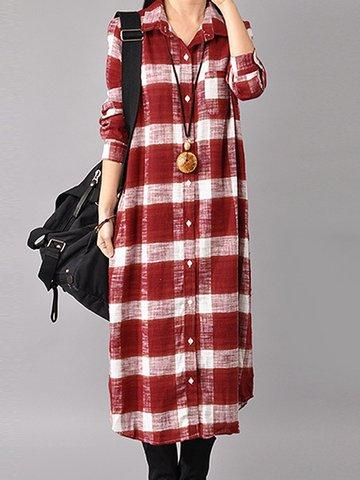 Casual Plaid Print Splited Lapel Long Sleeve Women Mid-long Dress