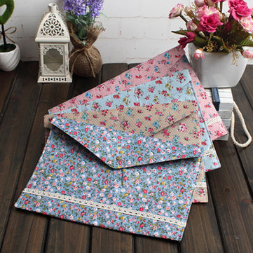 Pastoral Floral Mori Cloth Bag A4 File Folder Korea School Supplies Stationery Cute Kawaii
