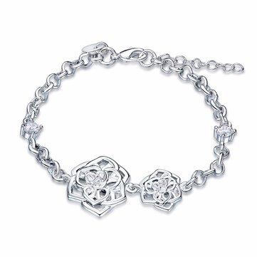 Sweet Flower Bracelet Серебряный браслет с розовым цирконом для подарка для женщин