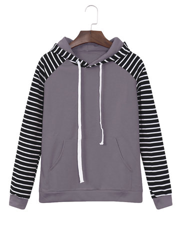 Casual Striped Sleeve Women Hoodies