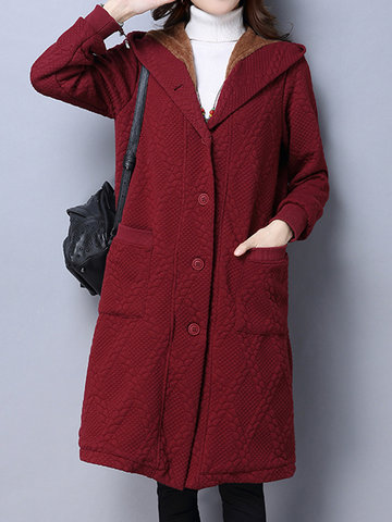 Solid Color Women Long Sleeve Hooded Coat