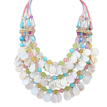Multilayer Crystal Teardrop Pendant Statement Necklace