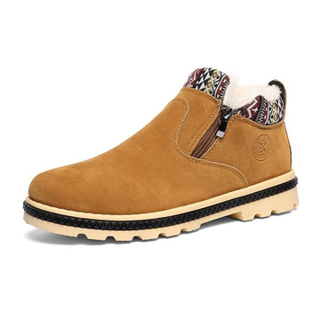 Side Zipper Suede Pure Color Warm Fur Lining Flat Casual Boots For Men