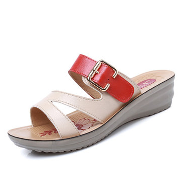 Hollow Out Breathable Color Match Buckle Wedge Heel Soft Sandals Slippers