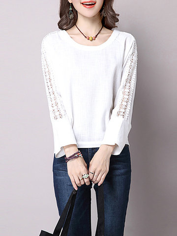 Women Lace Crochet Pure Color Long Sleeve Casual Shirts