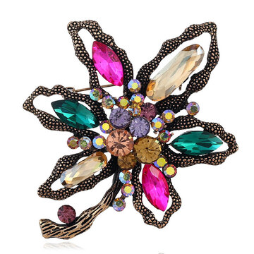 Vintage Multicolor Crystal Brooch Flower Pin Scarf Fashion Jewelry Clothing Accessories