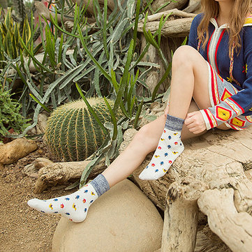 Women Cartoon Tree Printed Cotton Socks Harajuku Style Mid-Calf Hosiery Stockings