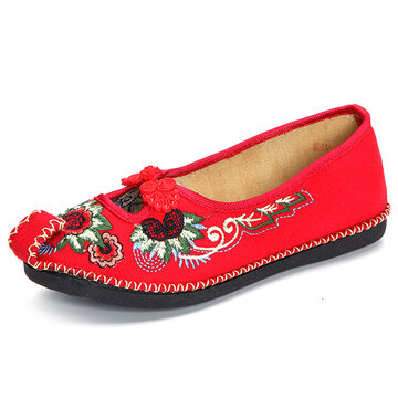 Chinese Knot Hollow Out Embroidery Vintage Flat Loafers