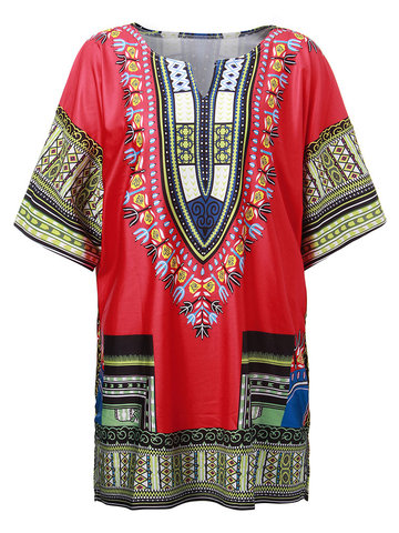 Casual Women Ethnic Impreso Loose T-Shirt
