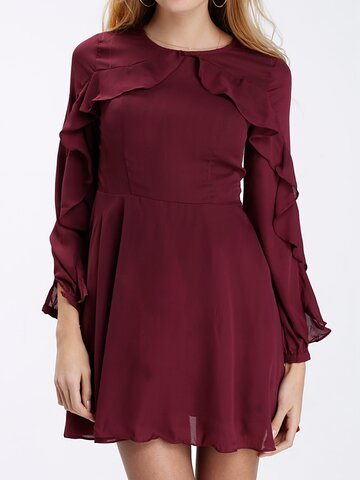 Chiffon Flouncing O-neck Long Sleeve Women Mini Dress