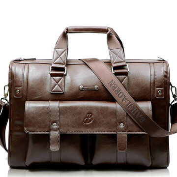 Business Crossbody Compound Cowhide Briefcase Vintage Laptop Bag For Men