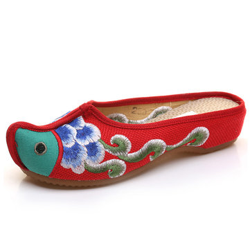 Fish Pattern Embroidered Open Heel Colorful Vintage Shoes