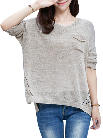 Hallow Out Solid Acrylic Knit Loose Elegant Casual Women Sweater