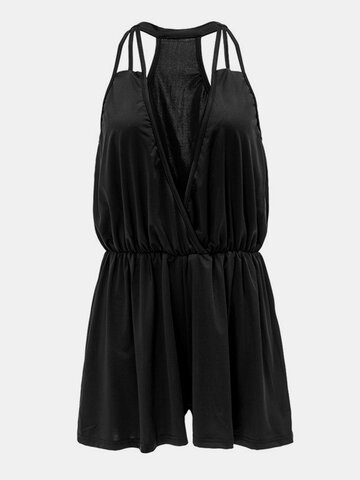 Mujeres Sexy Backless sin mangas Deep V Jumpsuit