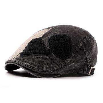 Мужчины промывают хлопок Берет Cap письмо Повседневная Открытый Sun Visor пике Hat