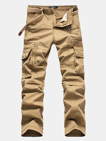 Buy Mens Cotton Cargo Pants Straight Leg Solid Color Zippered Multi-pocket Casual Trouser