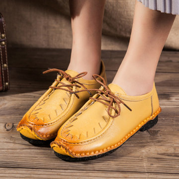 SOCOFY retro stitching flat shoes