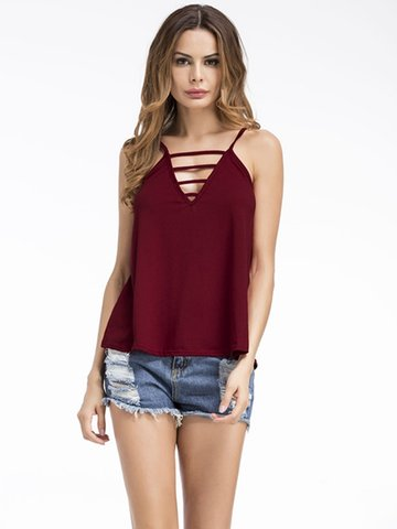 Sexy Hollow Pure Color V-neck Cami Tank Tops For Women