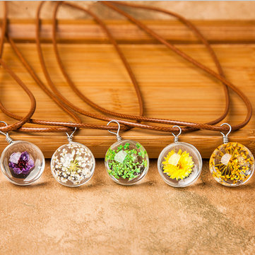 Trendy Time Gem Dried Flowers Crystal Pendant Chain Wishing Ball Necklace Christmas Gift