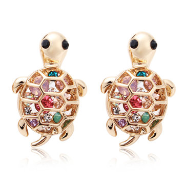 Crystal Gold Plated Cute Little Turtle Stud Earrings