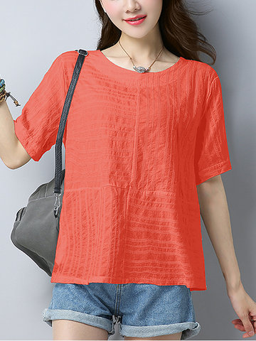 Casual Loose Pure Color Short Sleeve O-neck Women T-shirt