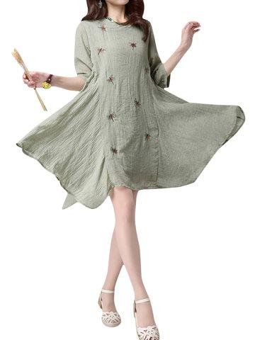 Dragonfly Printed Loose Vintage Women  Dress