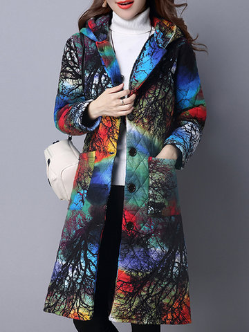 Plaid Print Thicken Hooded Women Coat