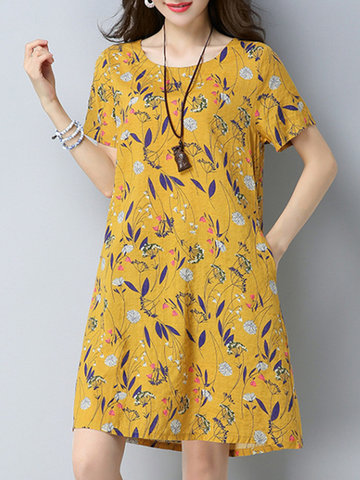 Casual Floral Printed O-Neck Short Sleeve Women Dresses