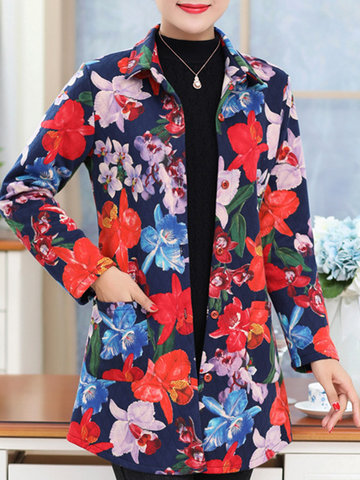 Casual Printed Pocket Lapel Long Sleeves Blouse For Women