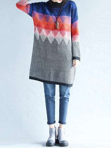 Casual Geometric Print Patchwork Long Sleeve O-neck Women Sweaters