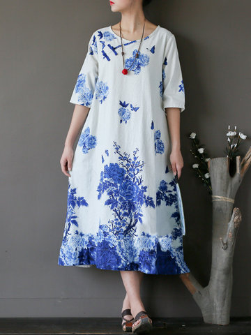Flower Printed Vintage Robe Dress