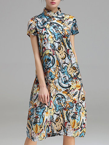 Women Vintage Violin Printed Loose Mandarin Collar Short Sleeve Dresses