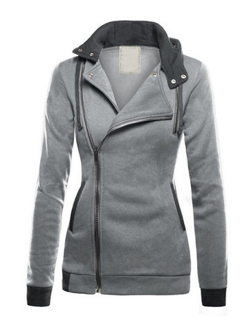 Patchwork Thicken Hooded Women Coat
