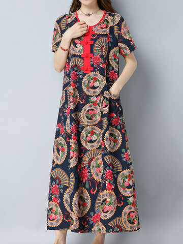 Chinese Style Vintage Printed O-Neck Short Sleeve Women Ankl