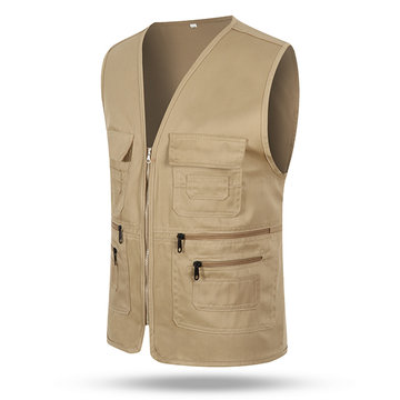 Outdoor Casual Fishing Multi Pockets V Neck Cargo Volunteer Vest for Men