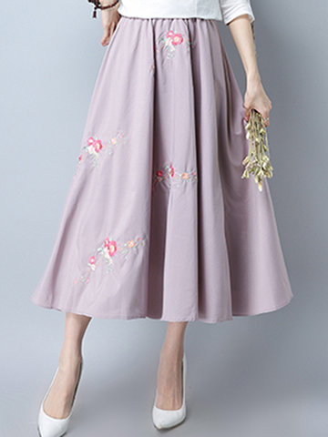 Vintage Embroidery Elastic Waist Pink Skirt For Women
