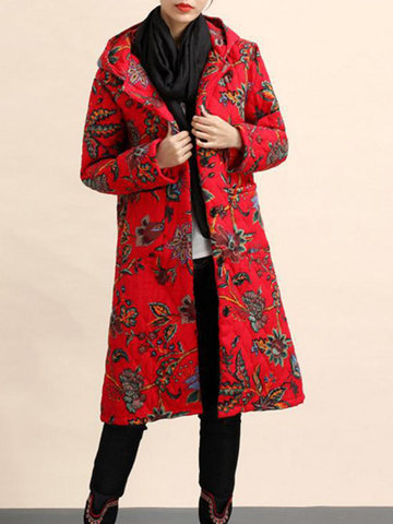 Casual Floral Women Hooded Coats