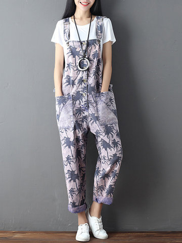 Casual Loose Maple Print Pockets Slip Button Jumpsuits For Women