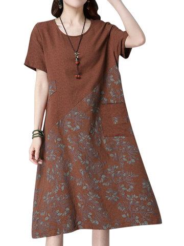 Retro Women Floral Printed Patchwork Short Sleeve Dress
